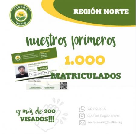 Matriculado #1000 de Región Norte