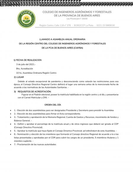 Llamado a Asamblea CIAFBA Región Centro